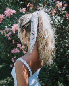 white scarf ponytail