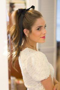 black bow ponytail