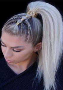 gold embellishing ponytail