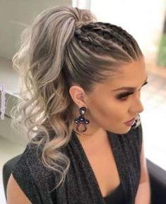 three braided ponytail