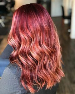 bold red with blonde lights