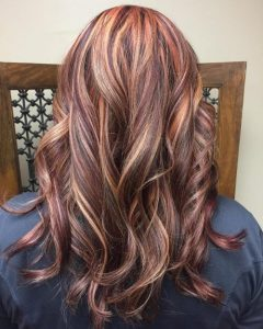red mixed with blonde and brown