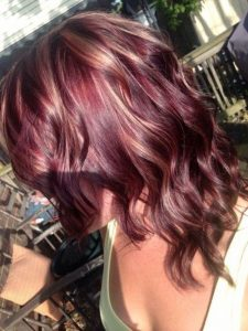 red wine hair color blondes