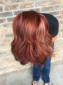 long dark red blonde lowlights