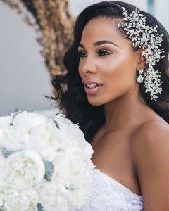 rhinestone side clip bride