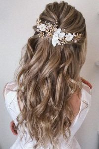 flower clip half up bride