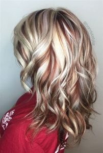 platinum blonde with red low
