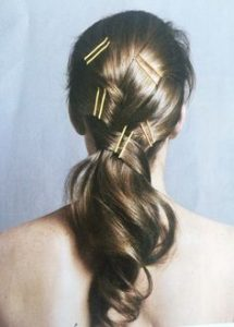 ponytail twisted with pins