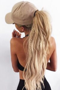 baseball hat ponytail