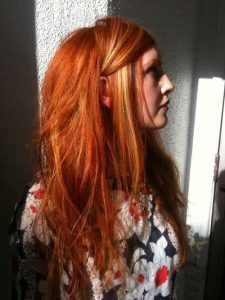carrot red hair blonde front piece