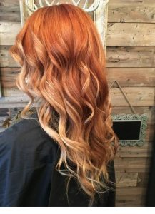 ombre bright red to blonde