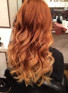 ombre red to blonde tip