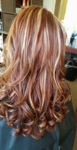 low and high light blonde with red