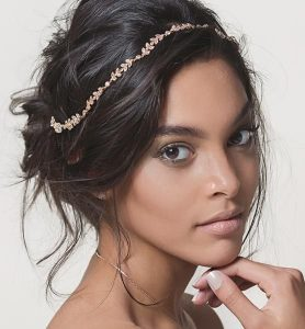 dainty headband bride