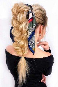 braid scarf wrap ponytail