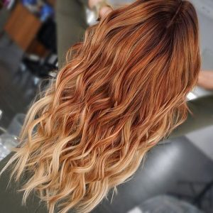 blonde tips bright red