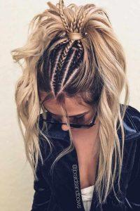 shaped braids ponytail