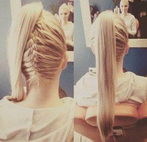 braided under ponytail