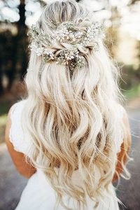 vine half up hair wedding