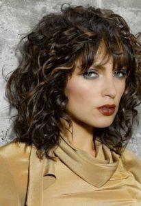 straight bang curly hair