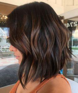 lob brown hair highlight