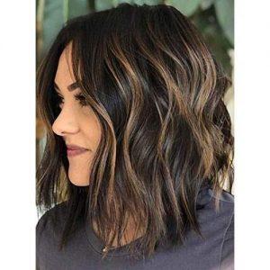 lob hair with highlights