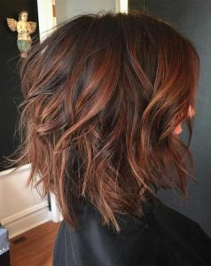 brown hair with red highlight