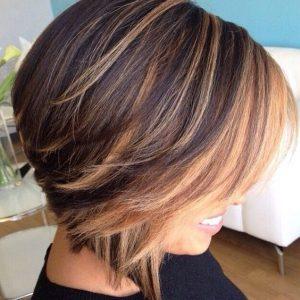 bob haircut with brown highlight