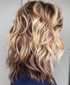 curled waves shag hair