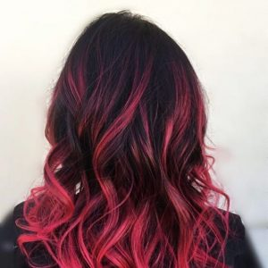 black and hot pink ombre