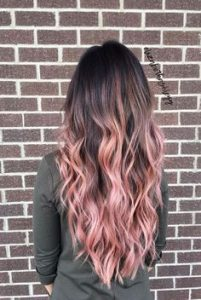 long brown and pink ombre