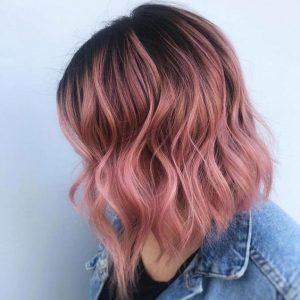 lob cut with pink ombre