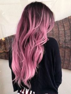 dark pink long ombre