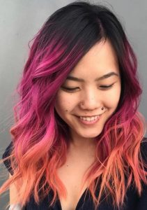 orange pink black ombre