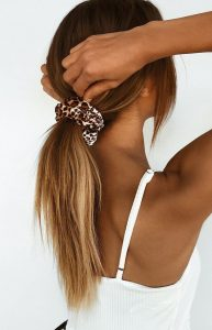long low ponytail scrunched