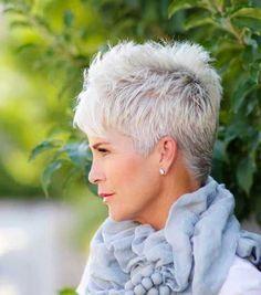 mature white hair cut