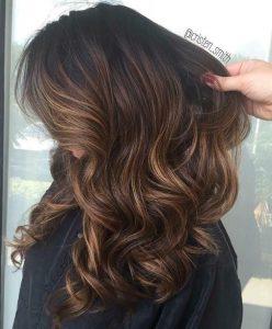 mocha and caramel balayage hair