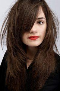 side bang mocha hair