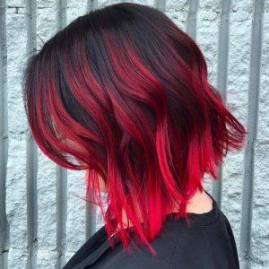 red ombre lob cut