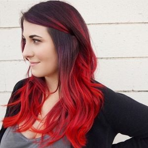 ruby red ombre black
