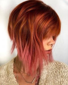 ombre red haircut