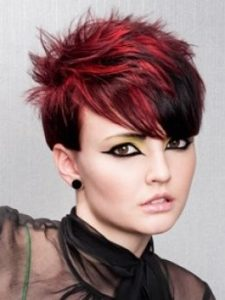 short edgy pixie red