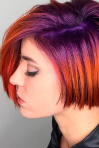 purple to red ombre short