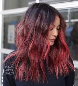 ombre dark ruby red