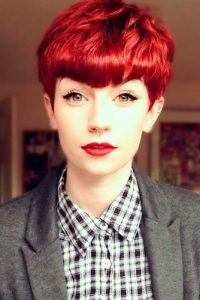 bright red short bangs