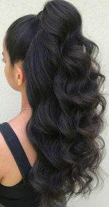 wavy half up hair bday