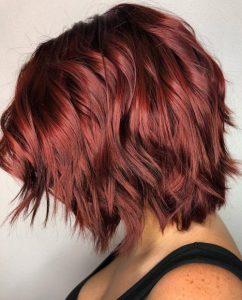 red wavy lob cut