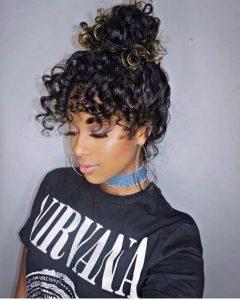 curly bangs bun