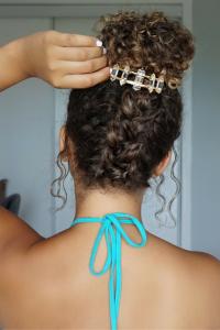 clipped braid messy bun