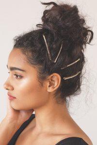 crystal pin curly bun